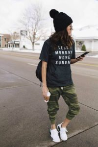 camo sweats and graphic tee