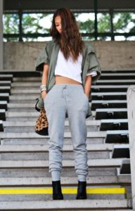 grey sweatpants crop top
