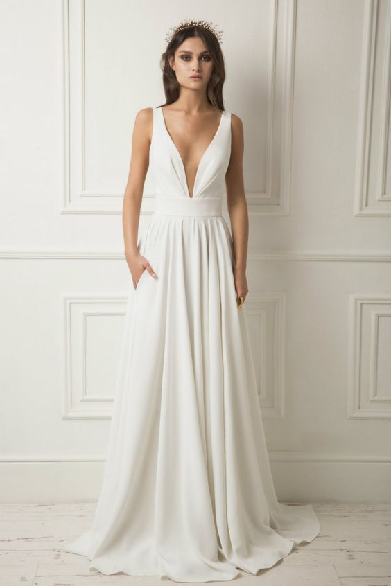 vneck column wedding dress