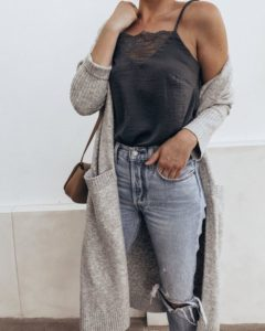long cardigan lace cami