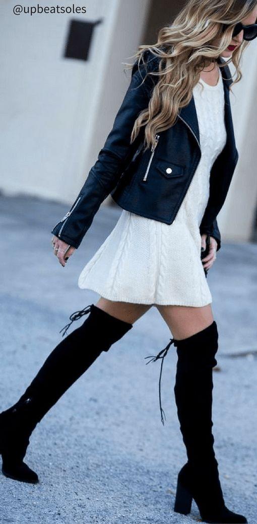leather jacket look