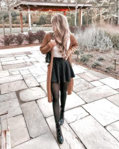 long cardi mini skirt