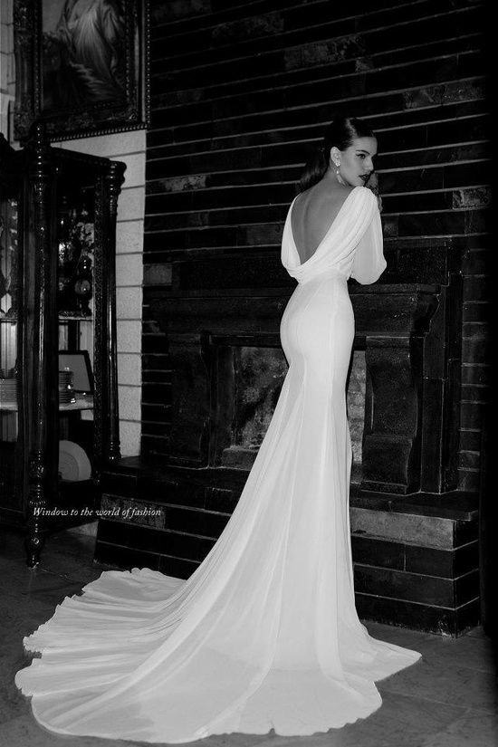 draped back gown