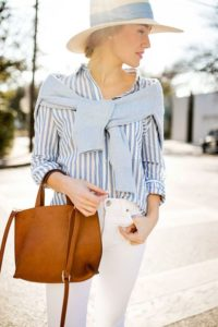 blue stripes and white jeans