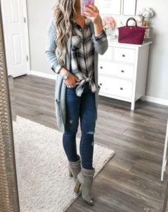 plaid cardigan outfits