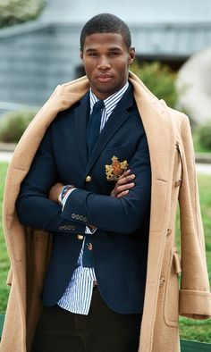 suit and camel coat