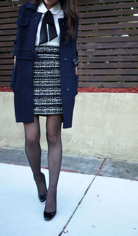 tweed skirt outfit