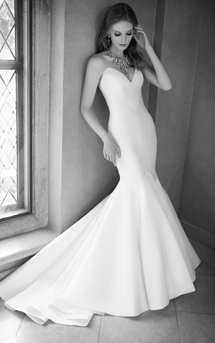 modern strapless gown