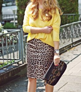 leopard pencil skirt and yellow