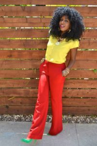 yellow colorblock outfit