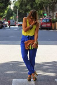 yellow cobalt blue outfit