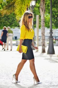 leather and yellow shirt