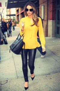 leather leggings and blouse