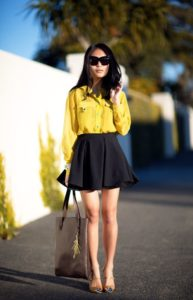 feminine yellow outfit