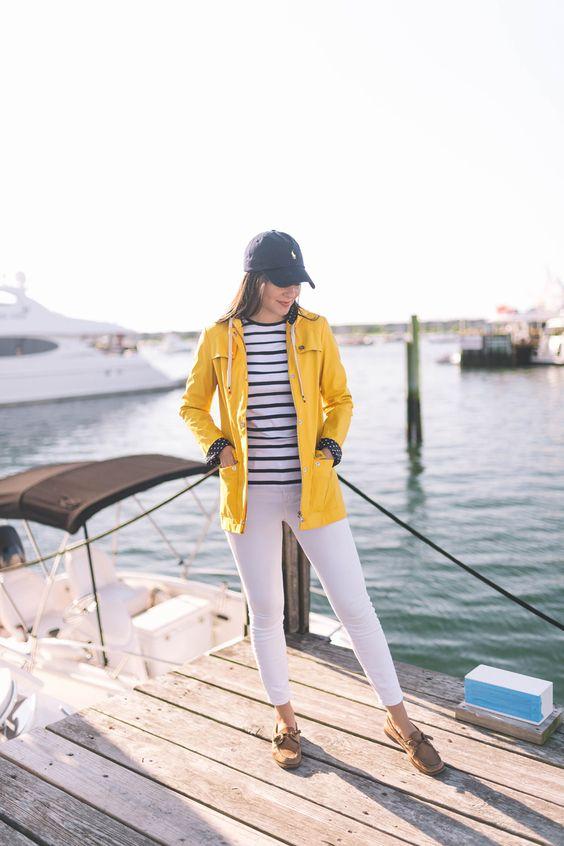rain coat preppy outfit
