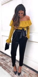 off the shoulder blouse outfit