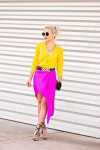yellow blouse and skirt
