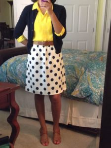 polka dot skirt and blouse outfit