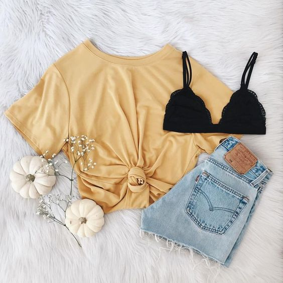 yellow shirt outfit ideas