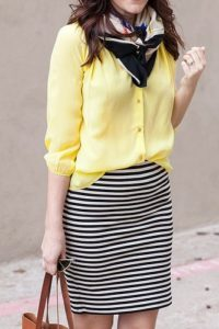 striped skirt and blouse