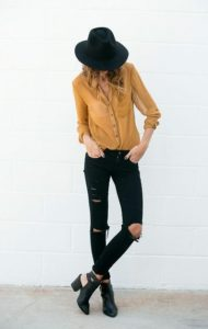black jeans and mustard yellow