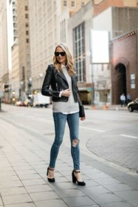 Biker Jacket and Ripped Jeans