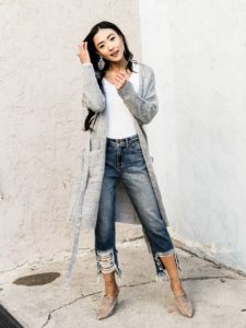 Midi Cardigan and Boyfriend Jeans