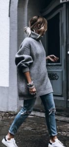 Oversized Roll Neck Sweater with Jeans