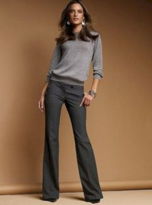 Work Wear Chic with Grey Sweater