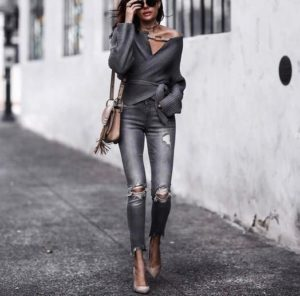 Wrap Sweater, Skinny Jeans and Heels