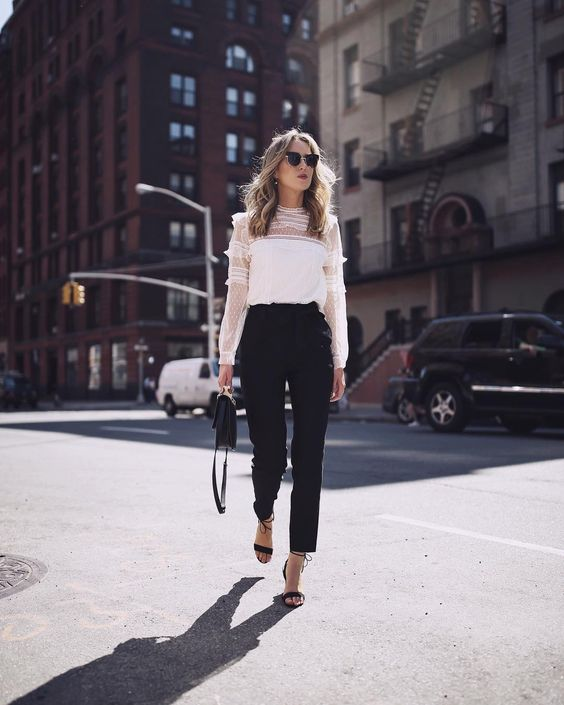 black pants white blouse