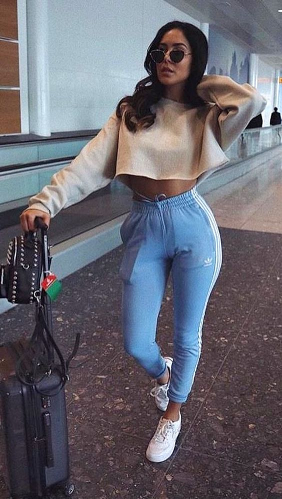 blue adidas beige