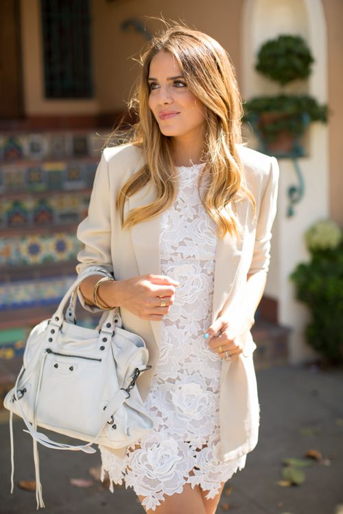 lace dress and blazer