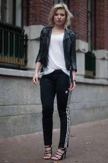 leather jacket heels adidas