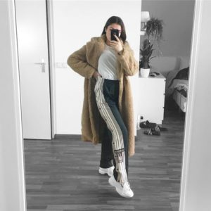 adidas pants and teddy coat