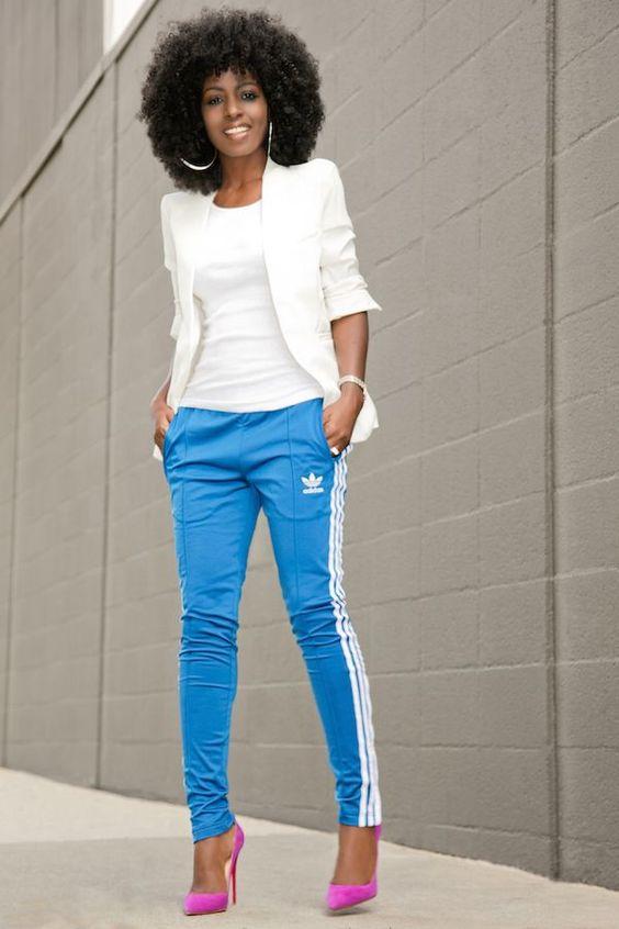 blue adidas and white blazer