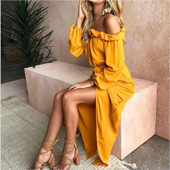 yellow dress outfit for a bridal party