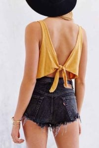 Cropped Tie Back Tank Top