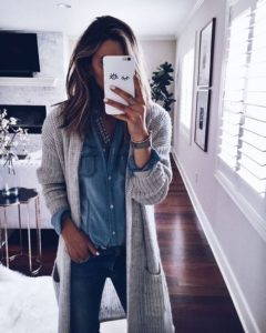 Double Denim and Grey Cardigan