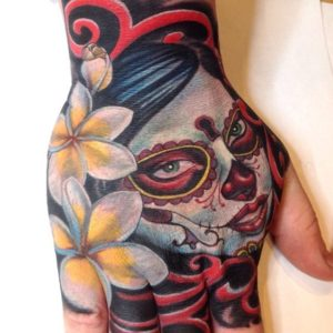 Day of the Dead Inspired Hand Tattoo
