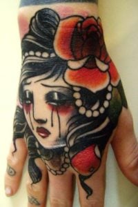 Traditional Crying Woman Tattoo