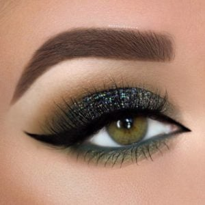 Green Tones and Glitter Smokey Eye