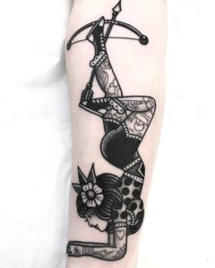 Woman And Arrow Tattoos