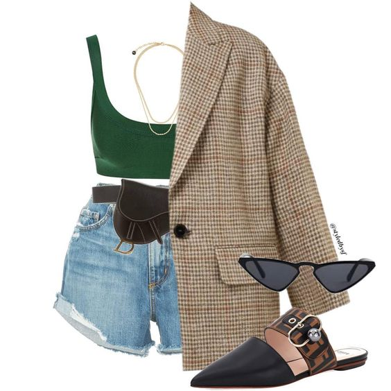 plaid blazer shorts