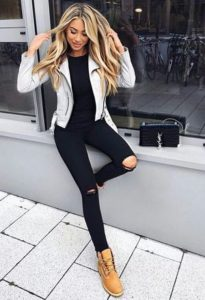 black with leather jacket