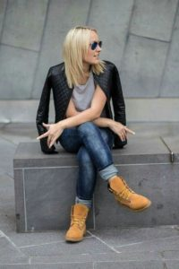 leather jacket timberlands