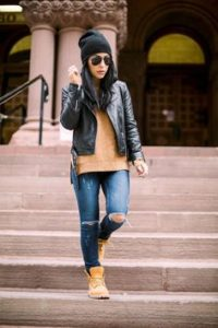 sweater leather boots