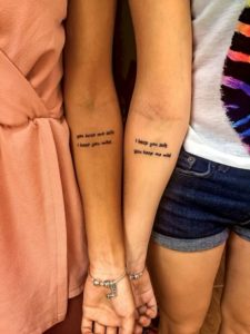 matching quote tattoo for girls