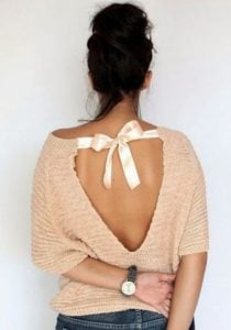 openback sweater with top silkribbon