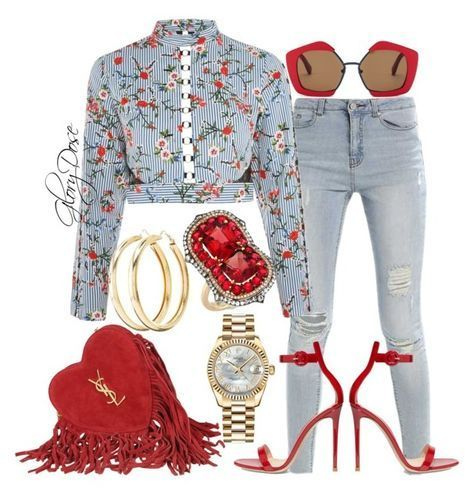 floral top jeans